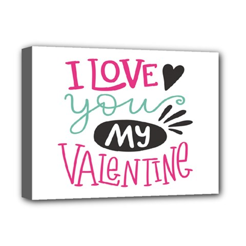 I Love You My Valentine (white) Our Two Hearts Pattern (white) Deluxe Canvas 16  X 12