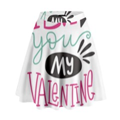 I Love You My Valentine (white) Our Two Hearts Pattern (white) High Waist Skirt by FashionFling