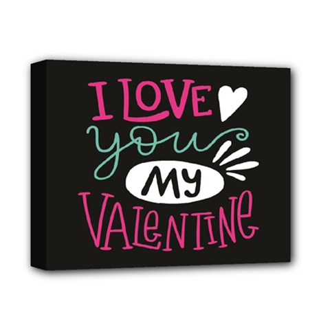 I Love You My Valentine / Our Two Hearts Pattern (black) Deluxe Canvas 14  X 11  by FashionFling