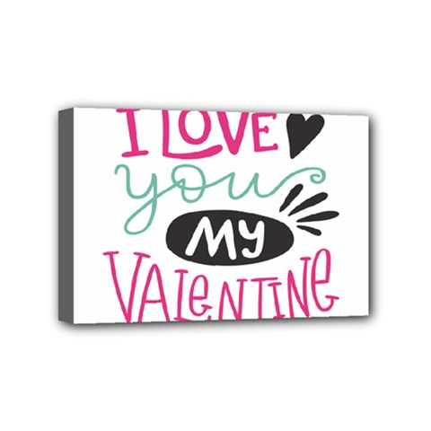I Love You My Valentine / Our Two Hearts Pattern (white) Mini Canvas 6  X 4  by FashionFling