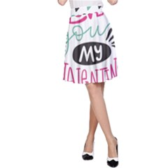 I Love You My Valentine / Our Two Hearts Pattern (white) A Line Skirt