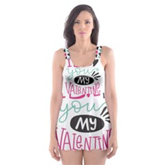I Love You My Valentine / Our Two Hearts Pattern (white) Skater Dress Swimsuit by FashionFling