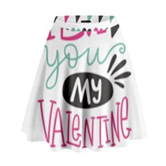I Love You My Valentine / Our Two Hearts Pattern (white) High Waist Skirt