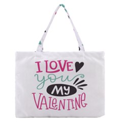 I Love You My Valentine / Our Two Hearts Pattern (white) Medium Zipper Tote Bag by FashionFling