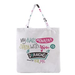 My Every Moment Spent With You Is Diamond To Me / Diamonds Hearts Lips Pattern (white) Grocery Tote Bag by FashionFling