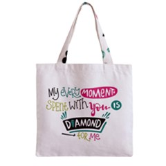 My Every Moment Spent With You Is Diamond To Me / Diamonds Hearts Lips Pattern (white) Zipper Grocery Tote Bag by FashionFling