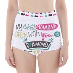 My Every Moment Spent With You Is Diamond To Me / Diamonds Hearts Lips Pattern (white) High-waisted Bikini Bottoms by FashionFling