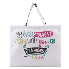 My Every Moment Spent With You Is Diamond To Me / Diamonds Hearts Lips Pattern (white) Zipper Large Tote Bag by FashionFling