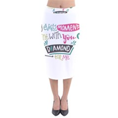 My Every Moment Spent With You Is Diamond To Me / Diamonds Hearts Lips Pattern (white) Velvet Midi Pencil Skirt