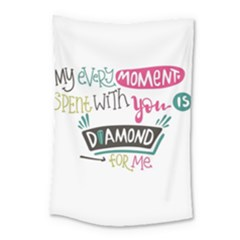 My Every Moment Spent With You Is Diamond To Me / Diamonds Hearts Lips Pattern (white) Small Tapestry by FashionFling