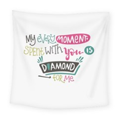 My Every Moment Spent With You Is Diamond To Me / Diamonds Hearts Lips Pattern (white) Square Tapestry (large)