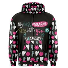 My Every Moment Spent With You Is Diamond To Me / Diamonds Hearts Lips Pattern (black) Men s Zipper Hoodie