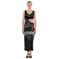 My Every Moment Spent With You Is Diamond To Me / Diamonds Hearts Lips Pattern (black) Fitted Maxi Dress by FashionFling