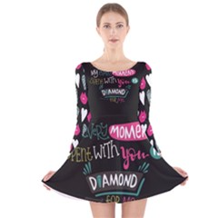 My Every Moment Spent With You Is Diamond To Me / Diamonds Hearts Lips Pattern (black) Long Sleeve Velvet Skater Dress