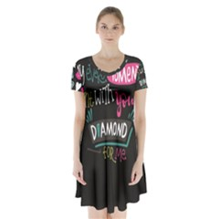 My Every Moment Spent With You Is Diamond To Me / Diamonds Hearts Lips Pattern (black) Short Sleeve V Neck Flare Dress