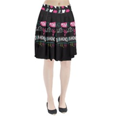 My Every Moment Spent With You Is Diamond To Me / Diamonds Hearts Lips Pattern (black) Pleated Skirt