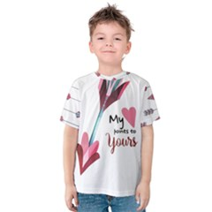 My Heart Points To Yours / Pink And Blue Cupid s Arrows (white) Kids  Cotton Tee