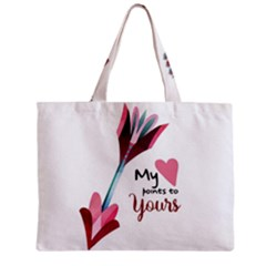 My Heart Points To Yours / Pink And Blue Cupid s Arrows (white) Zipper Mini Tote Bag by FashionFling