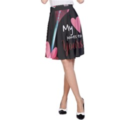 My Heart Points To Yours / Pink And Blue Cupid s Arrows (black) A Line Skirt