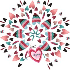 You Are My Beat / Pink And Teal Hearts Pattern (white)  Hook Handle Umbrellas (medium) by FashionFling
