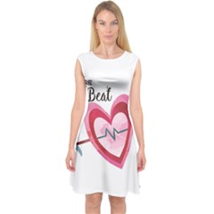 You Are My Beat / Pink And Teal Hearts Pattern (white)  Capsleeve Midi Dress by FashionFling