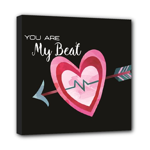 You Are My Beat / Pink And Teal Hearts Pattern (black)  Mini Canvas 8  X 8  by FashionFling