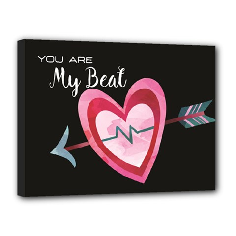 You Are My Beat / Pink And Teal Hearts Pattern (black)  Canvas 16  X 12  by FashionFling