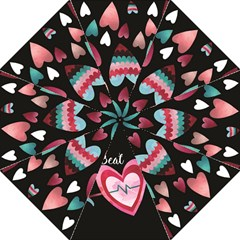 You Are My Beat / Pink And Teal Hearts Pattern (black)  Hook Handle Umbrellas (medium) by FashionFling