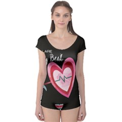 You Are My Beat / Pink And Teal Hearts Pattern (black)  Boyleg Leotard  by FashionFling