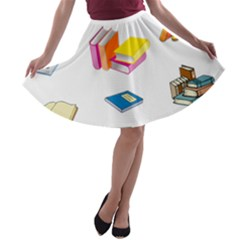 Bookworm Pattern A Line Skater Skirt by athenastemple