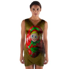 Christmas Wreath Ball Decoration Wrap Front Bodycon Dress