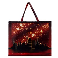 City Silhouette Christmas Star Zipper Large Tote Bag