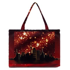 City Silhouette Christmas Star Medium Zipper Tote Bag by Nexatart