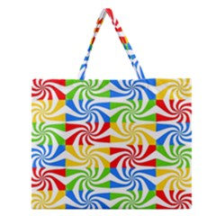 Colorful Abstract Creative Zipper Large Tote Bag