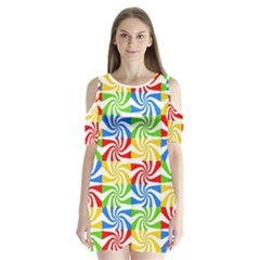 Colorful Abstract Creative Shoulder Cutout Velvet  One Piece