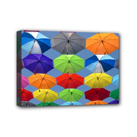 Color Umbrella Blue Sky Red Pink Grey And Green Folding Umbrella Painting Mini Canvas 7  X 5  by Nexatart