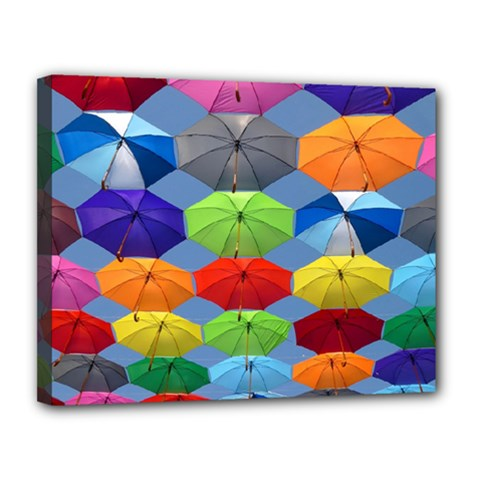 Color Umbrella Blue Sky Red Pink Grey And Green Folding Umbrella Painting Canvas 14  X 11  by Nexatart