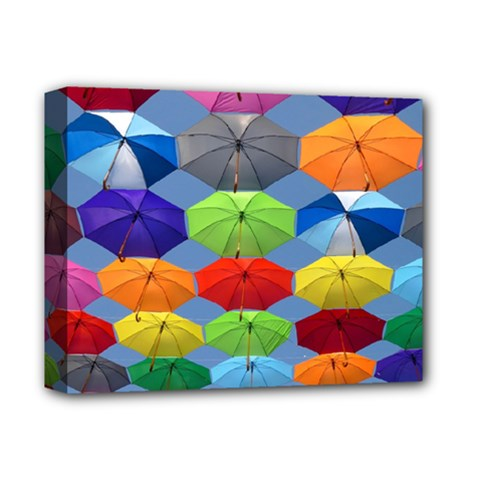 Color Umbrella Blue Sky Red Pink Grey And Green Folding Umbrella Painting Deluxe Canvas 14  X 11  by Nexatart