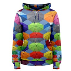 Color Umbrella Blue Sky Red Pink Grey And Green Folding Umbrella Painting Women s Pullover Hoodie