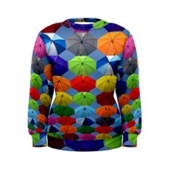 Color Umbrella Blue Sky Red Pink Grey And Green Folding Umbrella Painting Women s Sweatshirt