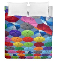 Color Umbrella Blue Sky Red Pink Grey And Green Folding Umbrella Painting Duvet Cover Double Side (queen Size)
