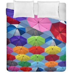 Color Umbrella Blue Sky Red Pink Grey And Green Folding Umbrella Painting Duvet Cover Double Side (california King Size)