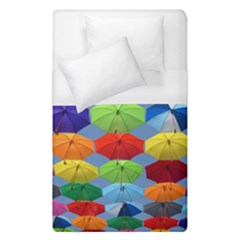 Color Umbrella Blue Sky Red Pink Grey And Green Folding Umbrella Painting Duvet Cover (single Size) by Nexatart