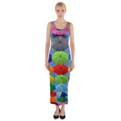 Color Umbrella Blue Sky Red Pink Grey And Green Folding Umbrella Painting Fitted Maxi Dress by Nexatart