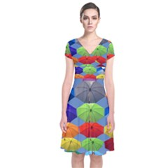 Color Umbrella Blue Sky Red Pink Grey And Green Folding Umbrella Painting Short Sleeve Front Wrap Dress