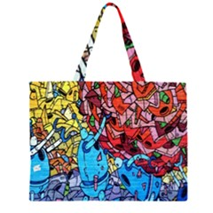 Colorful Graffiti Art Zipper Large Tote Bag