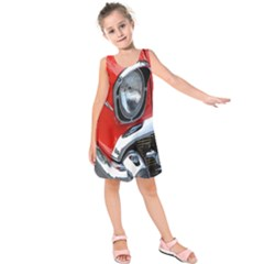 Classic Car Red Automobiles Kids  Sleeveless Dress by Nexatart