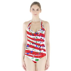 Confetti Star Parade Usa Lines Halter Swimsuit by Nexatart