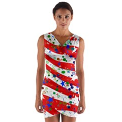 Confetti Star Parade Usa Lines Wrap Front Bodycon Dress by Nexatart