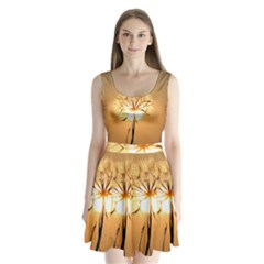 Dandelion Sun Dew Water Plants Split Back Mini Dress  by Nexatart